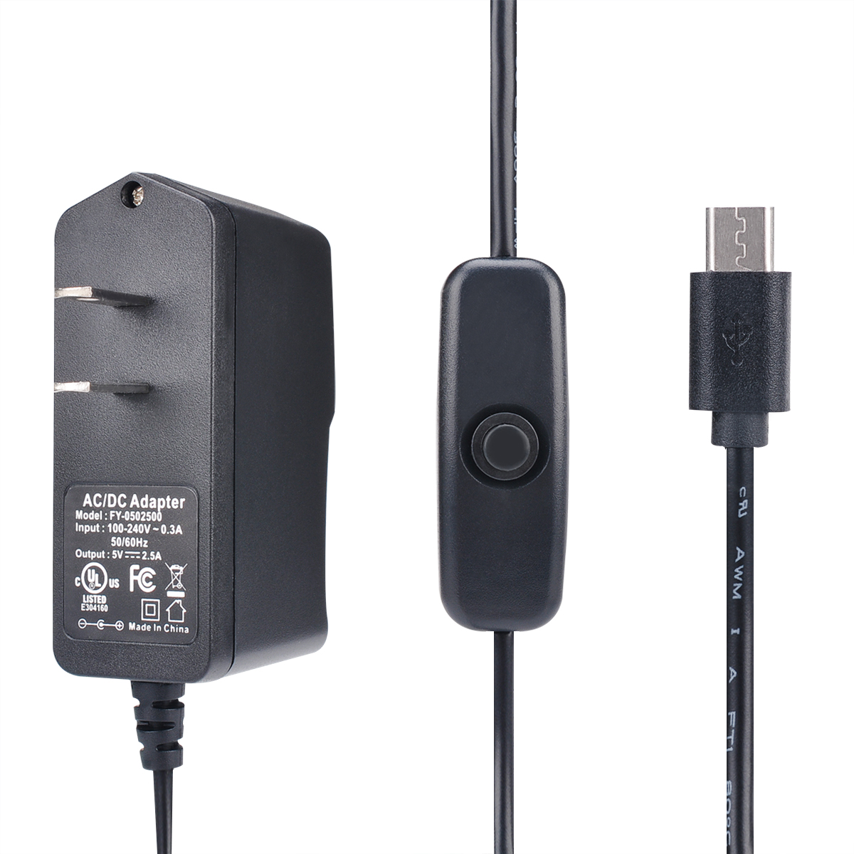 Enokay Power Supply for Raspberry Pi 2 3 b b+ 5V 2.5A Micro USB Charger Adapter with On Off Switch (UL Listed)