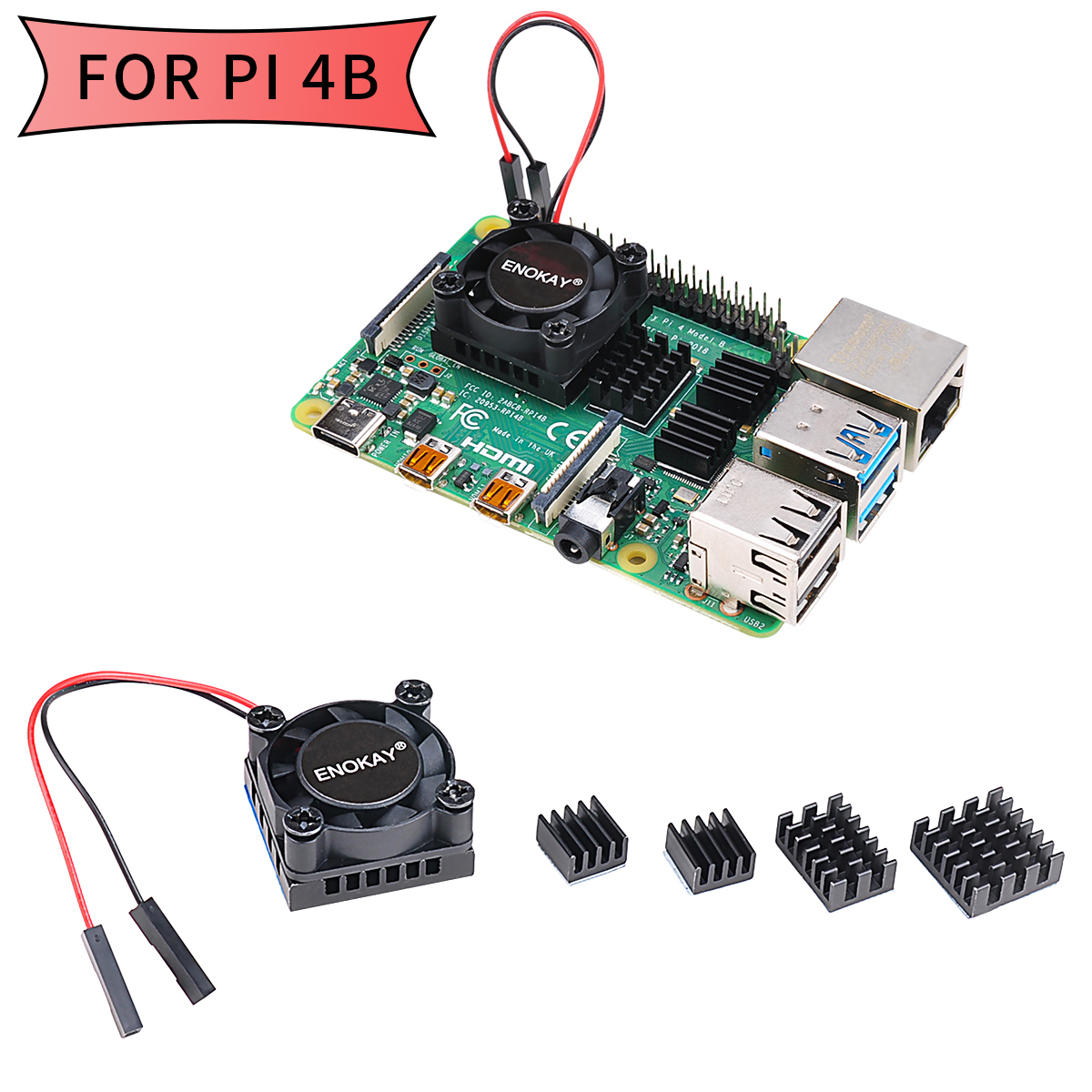 Enokay Raspberry Pi 4 Model B Heat Sink Single Cooling Fan RAM Heatsink Set